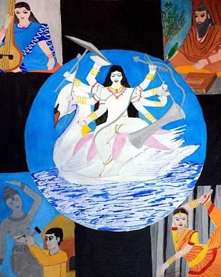 Swan Goddess Painting - Mahasaraswati by Pratyasha Nithin