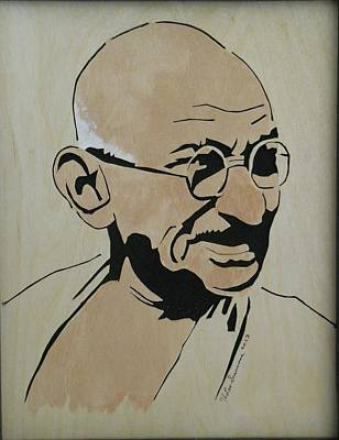 Scroll Saw Mixed Media - Mahatma Gandhi by H Leslie Simmons