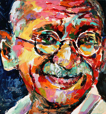Derek Russell Wall Art - Painting - Mahatma Gandhi by Derek Russell