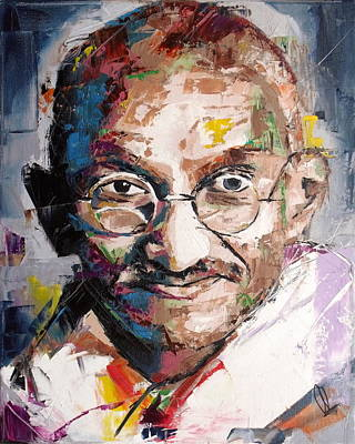 Temple Painting - Mahatma Gandhi by Richard Day