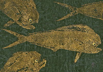 Mahi Mahi On Black W/ Gold Thread Unryu Paper Original by Jeffrey Canha