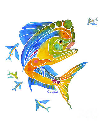 Painting - Mahi Saltwater Fish Art Gifts by Jo Lynch