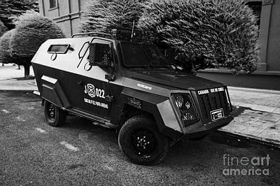 mahindra marksman armoured bulletproof vehicle owned by the carabineros de chile Punta Arenas Chile Art Print