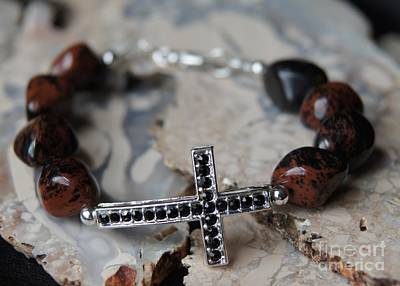 Jewelry - Mahogany Obsidian Cross Bracelet by Megan Cohen