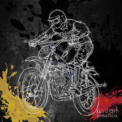 Handmade Drawing - Maico Biker by Pablo Franchi