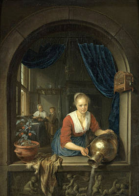 Woman At The Window Painting - Maid At The Window by Gerrit Dou