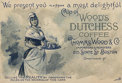 Duchess Drawing - Maid Serving Coffee Advertisement For Woods Duchess Coffee Boston  by American School