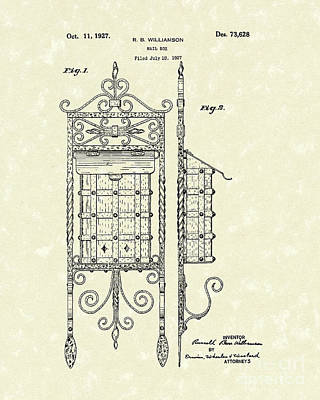 Mail Box Drawing - Mail Box 1927 Patent Art by Prior Art Design