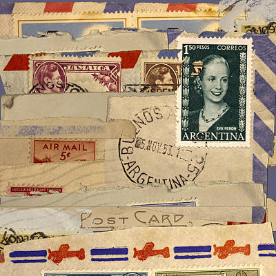 Envelopes Photograph - Mail Collage Eva Peron by Carol Leigh