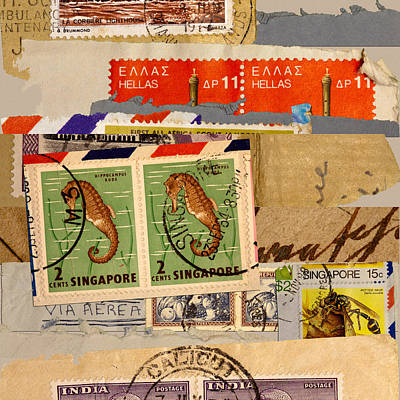 Montage Mixed Media - Mail Collage Singapore Seahorse by Carol Leigh