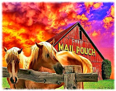 Mail Pouch Barn Painting - Mail Pouch Horses by Charles Ott