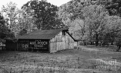 Photograph - Mail Pouch Tobacco Barn Black And White by Kathleen K Parker
