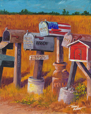 Painting - Mailbox Row by Terry Albert