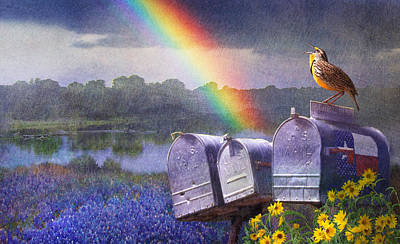Rainbow Row Painting - Mailboxes Bluebonnets And Meadowlark In Rainbow by R christopher Vest