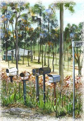 Days Go By Digital Art - Mailboxes On Country Road by Lynne Wilson