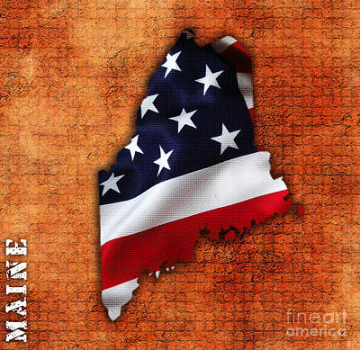 Us Flag Mixed Media - Main American Flag State Map by Marvin Blaine