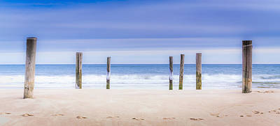 Main Beach Pilings Art Print by Ryan Moore