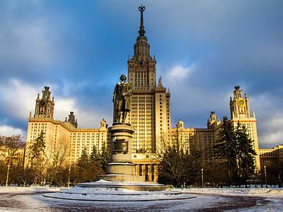 Main Building Of Moscow State University On Sparrow Hills - 2 - Featured 3 Art Print by Alexander Senin