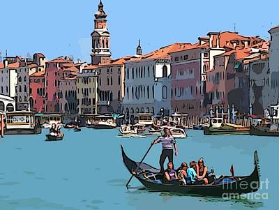 Row Boat Digital Art - Main Canal Venice Italy by John Malone Halifax Graphic artist