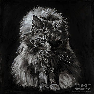Painting - Main Coon Cat Portrait by Christine Montague