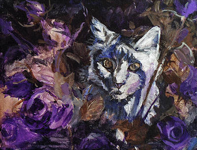 Painting - Main Coon Kitten In The Anniversery Roses by Christine Montague