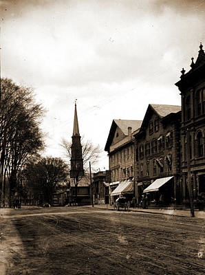 Vermont Drawing - Main St, Brattleboro, Vt, Streets, Commercial Facilities by Litz Collection