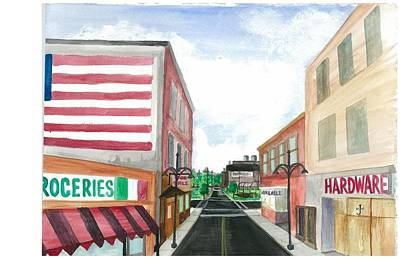 Painting - Main St. Is White-washed Windows And Vacant Stores by Jeremiah Iannacci