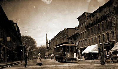 Vermont Drawing - Main St, Looking South, Brattleboro, Vt, Streets, Street by Litz Collection