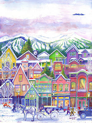 Summit County Painting - Main Street Breckenridge Colorado by David Sockrider