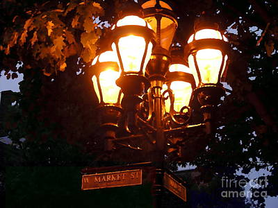 Main Street Gaslights - Abstract Art Print by Jacqueline M Lewis