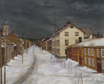 Harald Painting - Main Street In Roros by Harald Sohlberg