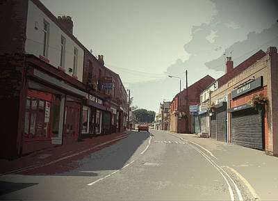 Main Street Drawing - Main Street In Shirebrook, The B6407 Road Facing by Litz Collection