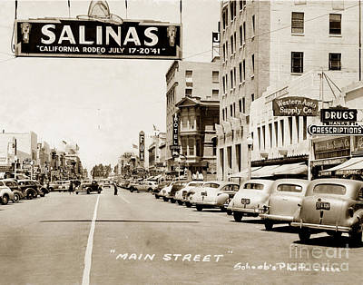 Photograph - Main Street Salinas California 1941 by California Views Mr Pat Hathaway Archives