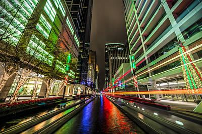 Night Photograph - Main Street Square Christmas by David Morefield