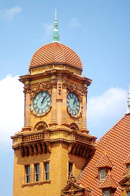 Art Print featuring the photograph Main Street Station Clock Tower Richmond Va by Suzanne Powers