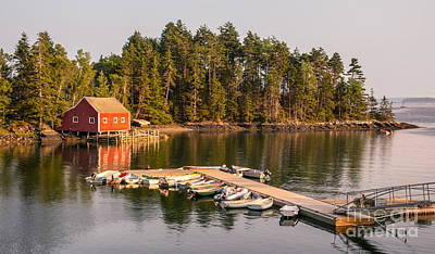 Rowboat Digital Art - Harborside Maine Boathouse And Dock by Jerry Fornarotto