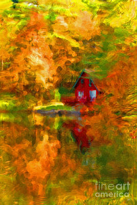 Digital Art - Maine Cabin In The Woods by Alana Ranney