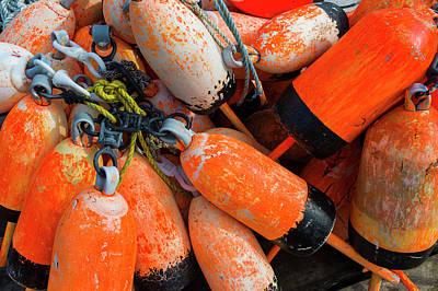 Buoys Photograph - Maine, Christmas Cove, Lobster Buoys by Walter Bibikow