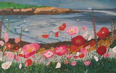 Maine Seacoast Painting - Maine Coast Flowers by Hilda and Jose Garrancho