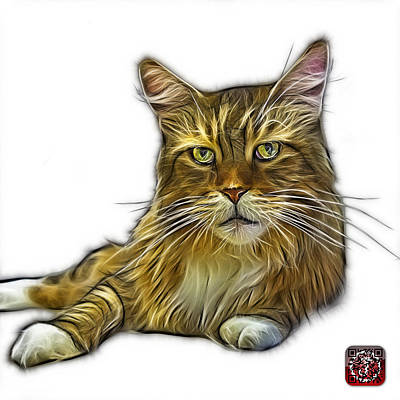 Painting - Maine Coon Cat - 3926 - Wb by James Ahn
