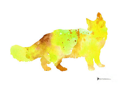 Maine Coon Cat Silhouette Large Poster Art Print by Joanna Szmerdt