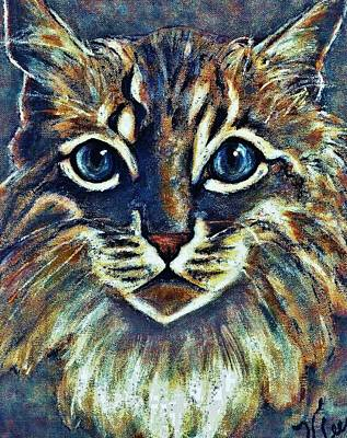 Painting - Maine Coon Portrait by VLee Watson