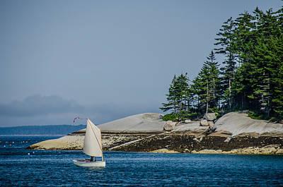 Maine Dinghy Sailing Art Print