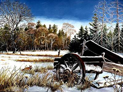 Snowscape Painting - Maine Field by James  Fleming