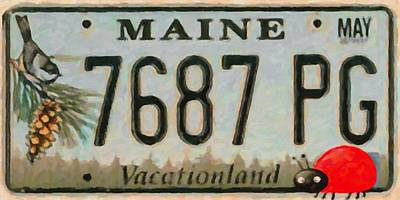 Animal Photograph - Maine License Plate by Lanjee Chee