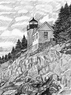 Drawing - Maine Lighthouse by Al Intindola