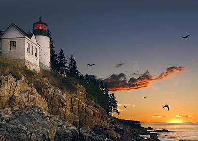 Maine Lighthouse Art Print by Daniel Hagerman