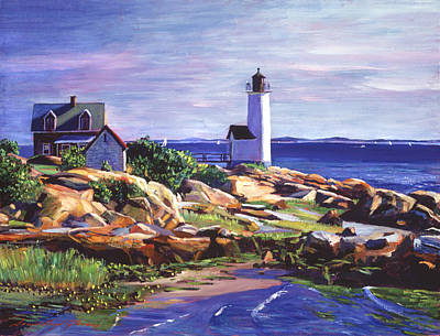 Sailboat Ocean Painting - Maine Lighthouse by David Lloyd Glover
