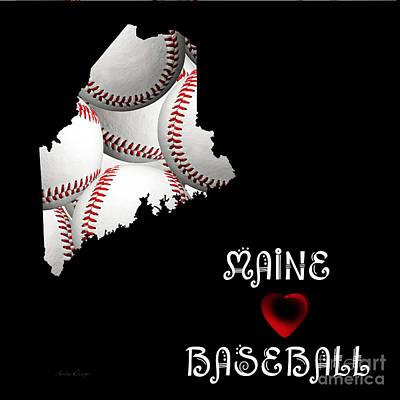 Digital Art - Maine Loves Baseball by Andee Design