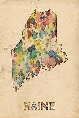United States Map Painting - Maine Map Vintage Watercolor by Florian Rodarte